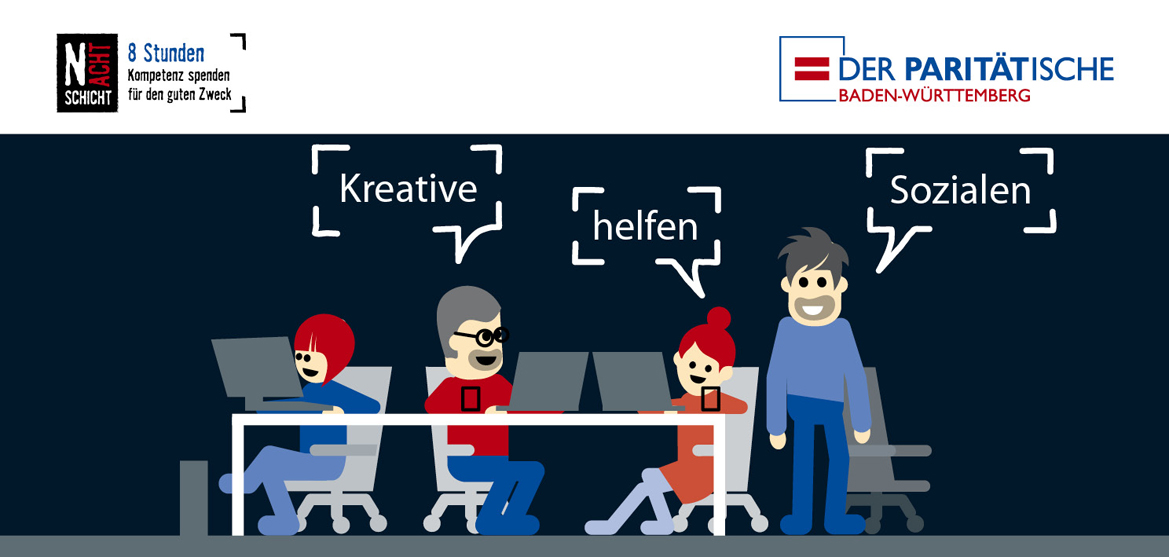 """Grafik mit Figuren, die im Dunkeln vor Laptops sitzen und dem Schriftzug """"Kreative helfen Sozialen"""""""